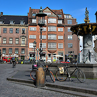 Caritas Well at Gammeltorv in Copenhagen, Denmark <br />