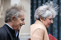© Licensed to London News Pictures. 26/04/2017. London, UK. Former Prime Minister TONY BLAIR (left) and current Prime Minister THERESA MAY (right) seen with windswept hair as they leave their respective offices in central London and Downing Street, on 26 April 2017. Photo credit: Tolga Akmen/Peter MacdiarmidLNP