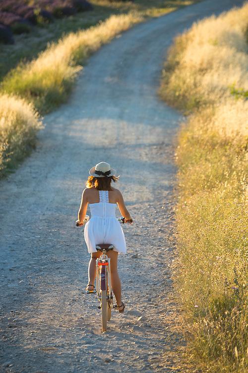Europe, France, Provence, Valensole, girl on bike MR