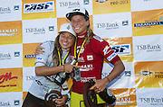 Courtney Conlogue (USA/Cal/SantaAna)  in red celebrates her win over Coco Ho (white) at the Dow AgroSciences Pro in New Zealand. Fitzroy Beach, Taranaki, New Zealand. 6 April 2013. Photo: ASP/Robertson