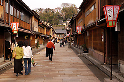 Historic street lined with Samurai houses in Kanazawa Japan