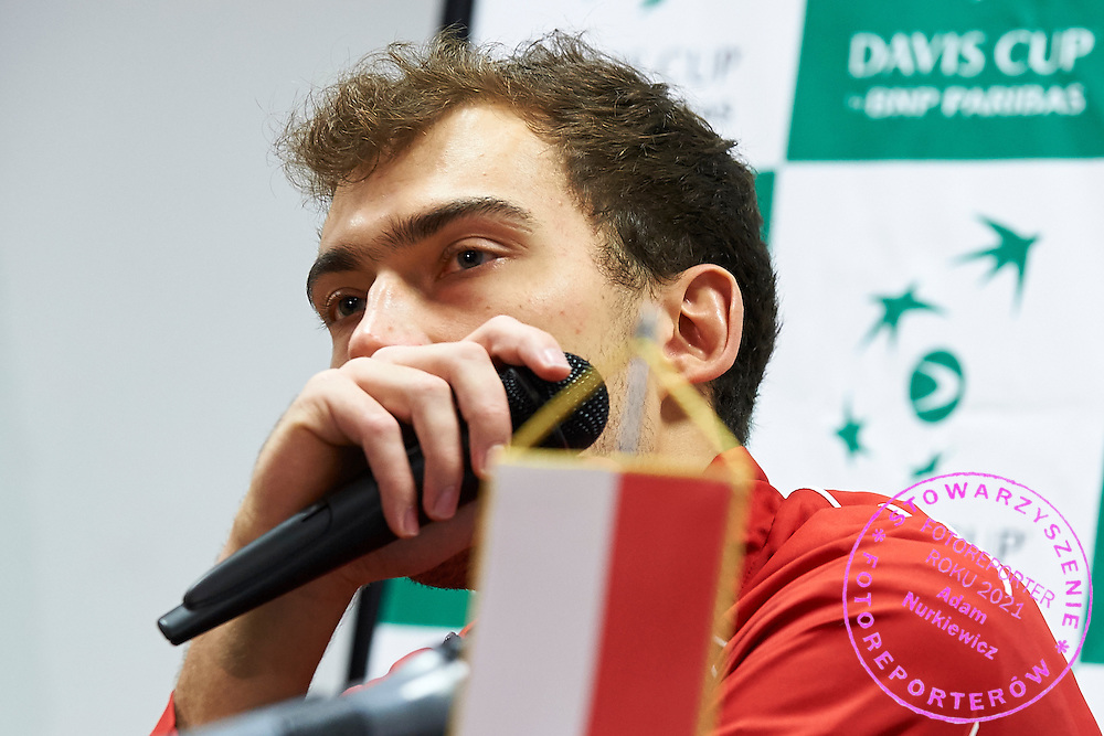 Jerzy Janowicz of Poland while press conference during first day the Davies Cup / Group I Europe / Africa 1st round tennis match between Poland and Lithuania at Orlen Arena on March 6, 2015 in Plock, Poland<br /> Poland, Plock, March 6, 2015<br /> <br /> Picture also available in RAW (NEF) or TIFF format on special request.<br /> <br /> For editorial use only. Any commercial or promotional use requires permission.<br /> <br /> Mandatory credit:<br /> Photo by &copy; Adam Nurkiewicz / Mediasport