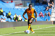 Hull City midfielder Moses Odubajo on the ball during the Sky Bet Championship match between Brighton and Hove Albion and Hull City at the American Express Community Stadium, Brighton and Hove, England on 12 September 2015. Photo by Phil Duncan.