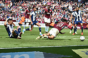 West Bromwich Albion defender Kieran Gibbs (3) brings down Aston Villa midfielder Jack Grealish (10) and concedes a penalty during the EFL Sky Bet Championship first leg Play Off match between Aston Villa and West Bromwich Albion at Villa Park, Birmingham, England on 11 May 2019.