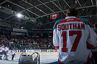 KELOWNA, CANADA - FEBRUARY 13: Rodney Southam #17 of the Kelowna Rockets stands on the bench against the Seattle Thunderbirds on February 13, 2017 at Prospera Place in Kelowna, British Columbia, Canada.  (Photo by Marissa Baecker/Shoot the Breeze)  *** Local Caption ***