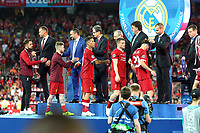 KIEV, UKRAINE - MAY 26: Team Liverpoool receives their medals after losing the UEFA Champions League final between Real Madrid and Liverpool at NSC Olimpiyskiy Stadium on May 26, 2018 in Kiev, Ukraine. (MB Media)
