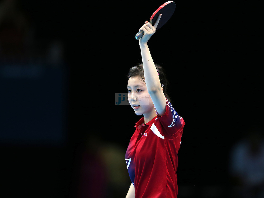 Ariel Hsing of the USA celebrates after defeating Lain Ni Xia of Luxembourg during a table tennis match at the Olympic Games in London, England, United Kingdom, on 29 Jul 2012..(Jed Jacobsohn/for The New York Times)....