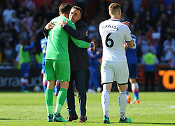 Swansea City manager Carlos Carvalhal hugs Lukasz Fabianski of Swansea City at the final whistle -Mandatory by-line: Nizaam Jones/JMP- 13/05/2018 - FOOTBALL - Liberty Stadium - Swansea, Wales - Swansea City v Stoke City - Premier League