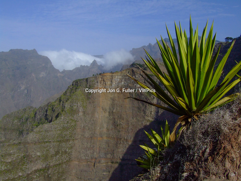Rugged volcanic ridges and mountains in the center of the island of Santo Antoa in the Republic of Cabo Verde, Africa.