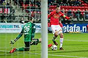 Jorn Brondeel of FC Twente, Wout Weghorst of AZ Alkmaar