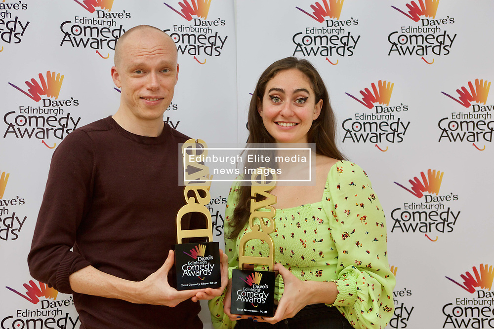 Jordan Brookes, winner of best comedy show, and Catherine Cohen, best newcomer, at the Edinburgh Comedy Awards 2019. pic Terry Murden @edinburghelitemedia
