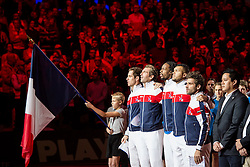 21.11.2014, Stade Pierre Mauroy, Lille, FRA, Davis Cup Finale, Frankreich vs Schweiz, im Bild Richard Gasquet (FRA), Julien Benneteau (FRA), Gael Monfils (FRA), Jo Wilfried Tsonga (FRA) und Captain Arnaud Clement (FRA) singen die Hymne // during the Davis Cup Final between France and Switzerland at the Stade Pierre Mauroy in Lille, France on 2014/11/21. EXPA Pictures © 2014, PhotoCredit: EXPA/ Freshfocus/ Valeriano Di Domenico<br /> <br /> *****ATTENTION - for AUT, SLO, CRO, SRB, BIH, MAZ only*****