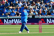 Wicket -  Rohit Sharma of India skies a shot from the bowling of Jake Ball of England and is caught during the International T20 match between England and India at the SWALEC Stadium, Cardiff, United Kingdom on 6 July 2018. Picture by Graham Hunt.