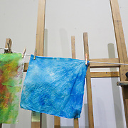 """Quilt squares dry during """"Create Your Own Quilt Squares"""" Sunday November 23, 2014 at the Cameron Art Museum in Wilmington, N.C. (Jason A. Frizzelle)"""