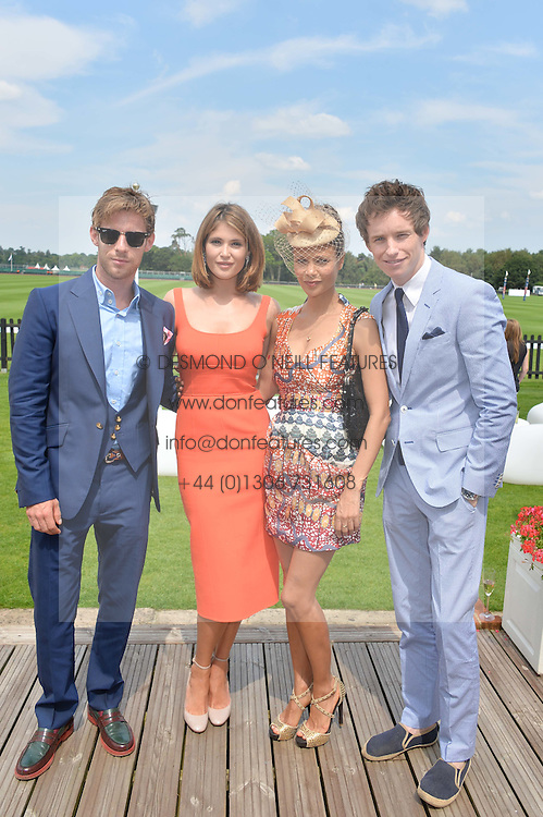 Left to right, LUKE TREADAWAY, GEMMA ARTERTON, THANDIE NEWTON and EDDIE REDMAYNE at the Audi International Polo at Guards Polo Club, Windsor Great Park, Egham, Surrey on 26th July 2014.