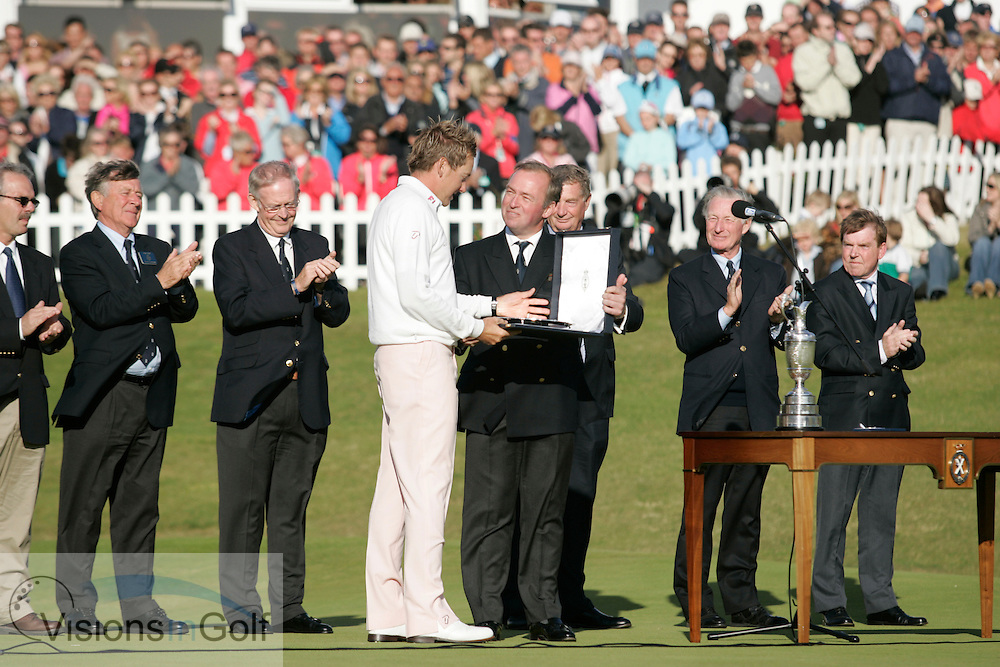 Ian Poulter at the closing ceremony prize giving on the 18th final round of the Open Championship 2008<br /> Photo credit:  Mark Newcombe / www.visionsingolf.com