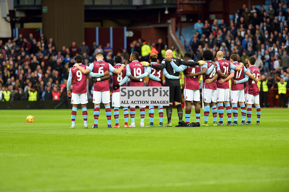 Villa players before the game for the minutes silence on Remembrance Day