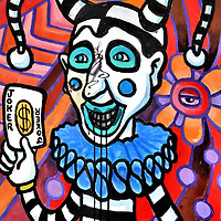 Jester Holding Joker Playing Card Mural in New Orleans, Louisiana<br />