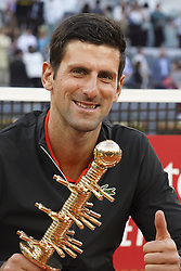May 12, 2019 - Madrid, Spain - Novak Djokovic of Serbia celebrates victory in his men's singles final against Stefano Tsitsipas of Greece during day nine of the Mutua Madrid Open at La Caja Magica on May 12, 2019 in Madrid, Spain  (Credit Image: © Oscar Gonzalez/NurPhoto via ZUMA Press)