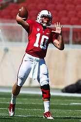 September 4, 2010; Stanford, CA, USA;  Stanford Cardinal quarterback David Olson (10) throws a pass before the game against the Sacramento State Hornets at Stanford Stadium.  Stanford defeated Sacramento State 52-17.