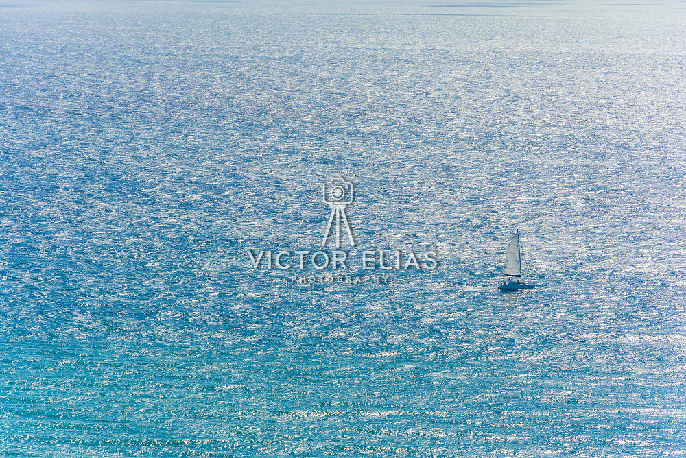 Aerial of sailboat in the Riviera Maya. Mexico.