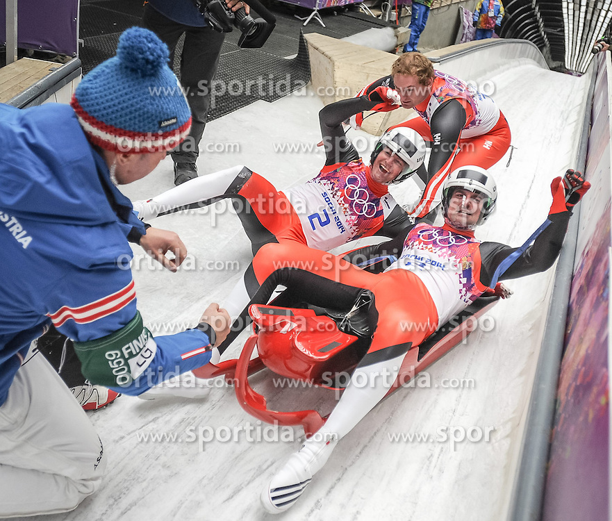 12.02.2014, Sliding Center Sanki, Krasnaya Polyana, RUS, Sochi, 2014, Rodeln, Doppelsitzer Herren, im Bild (v l ) Wolfgang Linger (AUT), Andreas Linger (AUT) jubeln &uuml;ber die Silbermedaille // (from left) Wolfgang Linger and Andreas Lingerof Austria cheer on the silver medal during Mens Luge Doubles the Olympic Winter Games Sochi 2014 at the Sliding Center Sanki, Krasnaya Polyana, Russia on 2014/02/12. EXPA Pictures &copy; 2014, PhotoCredit: EXPA/ Rolf Kosecki <br /> <br /> *****ATTENTION - OUT of GER*****