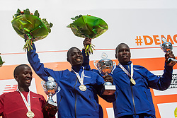 07-04-2019 NED: 39e NN Rotterdam Marathon, Rotterdam<br /> The winner kenyan Marius Kipserem during the NN marathon of Rotterdam. (r) Kaan Özbilen silver and Emanuel Saina bronze