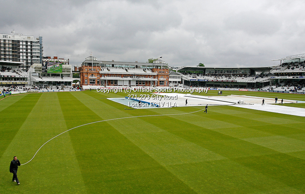 17/05/2008. England v New Zealand - First nPower Cricket Test Match. <br /> Groundstaff at Lord's attempt in vain to dry the pitch out in between the rain showers.<br /> Photo: Glyn Thomas/Offside