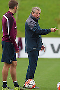 England manager Roy Hodgson instructs his players during the England Training Session at St George's Park National Football Centre, Burton-Upon-Trent, United Kingdom on 7 October 2015. Photo by Aaron Lupton.