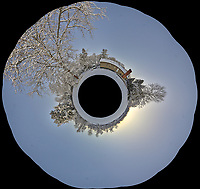 Snowy Backyard Little Planet Panorama. Composite of 22 images taken with a Leica T camera and 11-23 mm wide-angle zoom lens (ISO 200, 15 mm, f/5.6, 1/30 sec). Raw images processed with Capture One Pro and AutoPano Giga Pro.