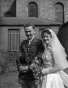 29/08/1959<br /> 08/29/1959<br /> 29 August 1959 <br /> Wedding of Lt. R.A. (Tony) Wall, 10 Fianna Road, Thurles, Co. Tipperary and Artillery Barracks, Kildare, Captain of last year's Senior All-Ireland Tipperary Hurling team, and Miss Elizabeth Barclay of New Bride Street, Dublin at the Church of St Nicholas of Myra, Francis St., Dublin.