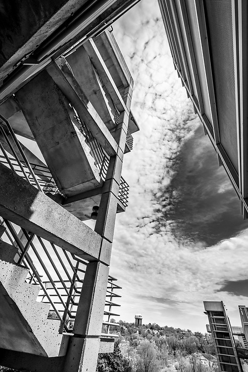 Cool wide-angle perspective of  this parking deck on the campus of the University of South Carolina in Columbia.