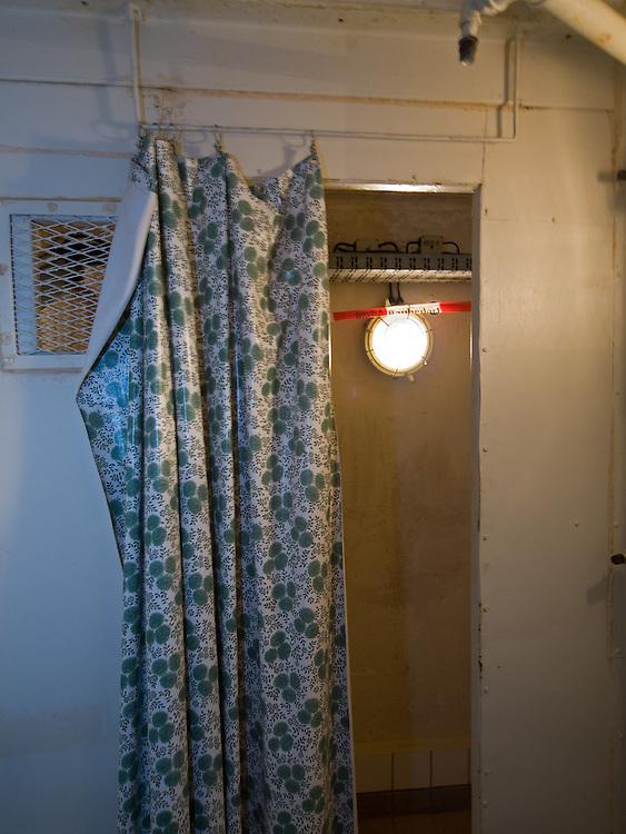 Original DDR shower curtain at the decontamination showers in the Honecker Bunker.