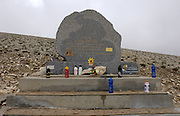 France - Monday, Jun 09 2008: The granite memorial erected close to the spot on the road to the summit of Mont Ventoux where British cyclist, Tom Simpson, died on July 13th 1967 during the 13th stage of the Tour de France cycle race. A post mortem found that Simpson had taken amphetamines and alcohol that proved fatal when combined with the hot conditions, the hard climb of the Ventoux and a pre-existing stomach complaint. (Photo by Peter Horrell / http://www.peterhorrell.com)