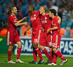 TRABZON, TURKEY - Thursday, August 26, 2010: Liverpool's Dirk Kuyt celebrates scoring the second goal against Trabzonspor during the UEFA Europa League Play-Off 2nd Leg match at the Huseyin Avni Aker Stadium. (Pic by: David Rawcliffe/Propaganda)