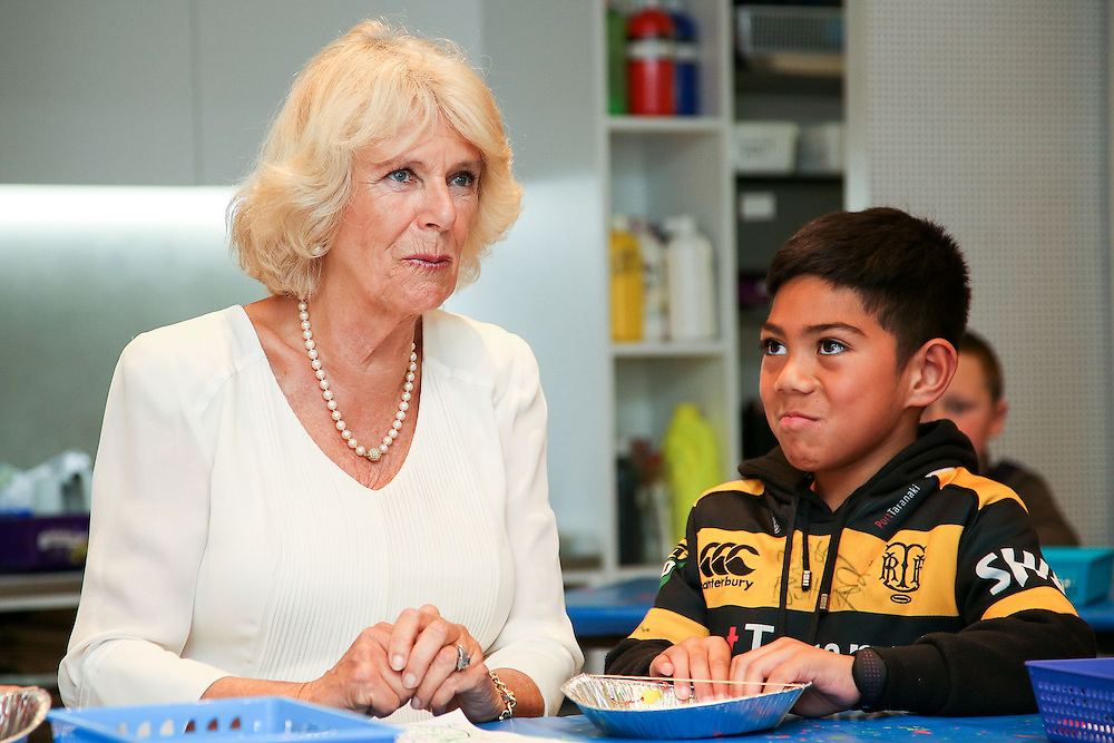 Camilla, Duchess of Cornwall meets children in the Learning Centre during a visit to the Len Lye Centre, New Plymouth, New Zealand, New Zealand, Monday, November 09, 2015. Credit:SNPA / Getty, Hagen Hopkins  **POOL**