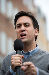 © London News Pictures. 21/09/2013.  Brighton, UK. Labour Party leader Ed Miliband speaking and taking questions from a soapbox in Brighton Town centre, a day before the Labour Party Conference starts in Brighton. Photo credit: Ben Cawthra/LNP
