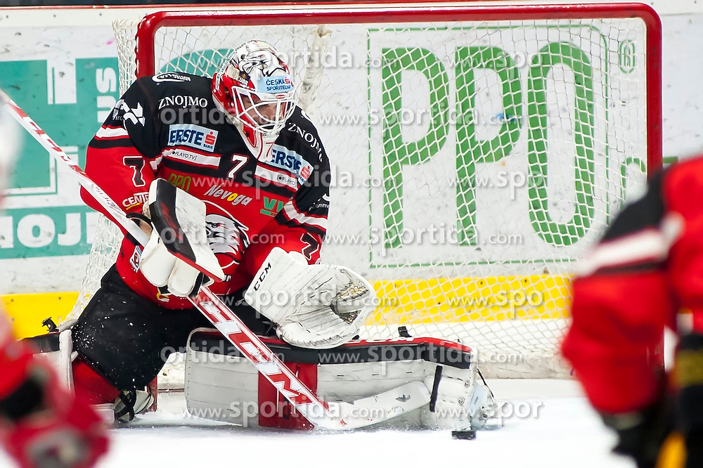 28.12.2015, Ice Rink, Znojmo, CZE, EBEL, HC Orli Znojmo vs HCB Suedtirol, 36. Runde, im Bild Patrik Nechvatal (HC Orli Znojmo) // during the Erste Bank Icehockey League 36nd round match between HC Orli Znojmo and HCB Suedtirol at the Ice Rink in Znojmo, Czech Republic on 2015/12/28. EXPA Pictures © 2015, PhotoCredit: EXPA/ Rostislav Pfeffer