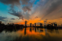Skyline of Colombo at twilight, Beira Lake, Colombo, Sri Lanka.