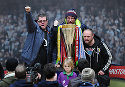 Bristol City fans have their photo taken with the Johnstone Paint Trophy - Photo mandatory by-line: Dougie Allward/JMP - Mobile: 07966 386802 - 11/03/2015 - SPORT - Football - Bristol - Cabot Circus Shopping Centre - Johnstone's Paint Trophy