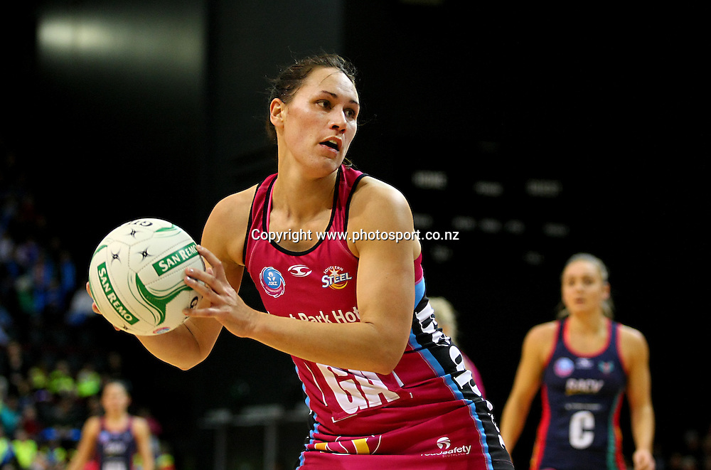 Southern Steels Jodi Brown in the ANZ championship netball match, Steel v Vixens, ILT Stadium Southland, Invercargill, New Zealand, Saturday, May 31, 2014. Photo: Dianne Manson / www.photosport.co.nz