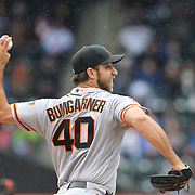 NEW YORK, NEW YORK - MAY 01: Pitcher Madison Bumgarner #40 of the San Francisco Giants pitching during the New York Mets Vs San Francisco Giants MLB regular season game at Citi Field on May 01, 2016 in New York City. (Photo by Tim Clayton/Corbis via Getty Images)
