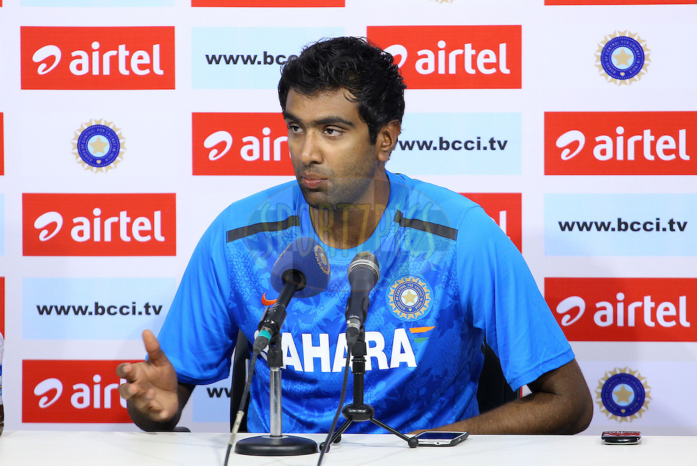 Ravichandran Ashwin of India addresses the media after the close of play during day 1 of the 1st Airtel Test match between India and Austraia at the M. A. Chidambaram Stadium in Chennai on the 22nd February 2013..Photo by Ron Gaunt/BCCI//SPORTZPICS..Use of this image is subject to the terms and conditions as outlined by the BCCI. These terms can be found by following this link:..http://www.sportzpics.co.za/image/I0000SoRagM2cIEc
