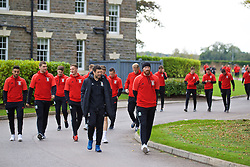 CARDIFF, WALES - Friday, October 7, 2016: Wales players during a team walk at the Vale Resort ahead of the 2018 FIFA World Cup Qualifying Group D match against Georgia. (Pic by David Rawcliffe/Propaganda)