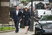 © Licensed to London News Pictures. 08/05/2015. Westminster, UK Prime Minister David Cameron arrives back at Downing Street after the general election on 8th May 2015. Photo credit : Stephen Simpson/LNP