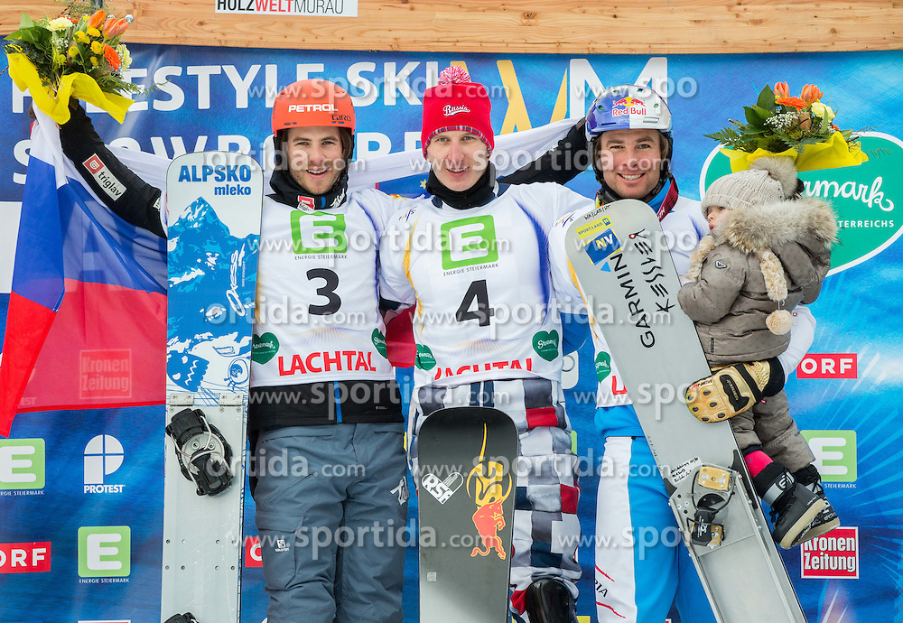 Second placed Zan Kosir of Slovenia, winner Andrey Sobolev of Russia and third placed Benjamin Karl of Austria celebrate at flower ceremony after the Men's Parallel Giant Slalom at FIS World Championships of Snowboard and Freestyle 2015, on January 23, 2015 at the WM Piste in Kreischberg, Austria. Photo by Vid Ponikvar / Sportida