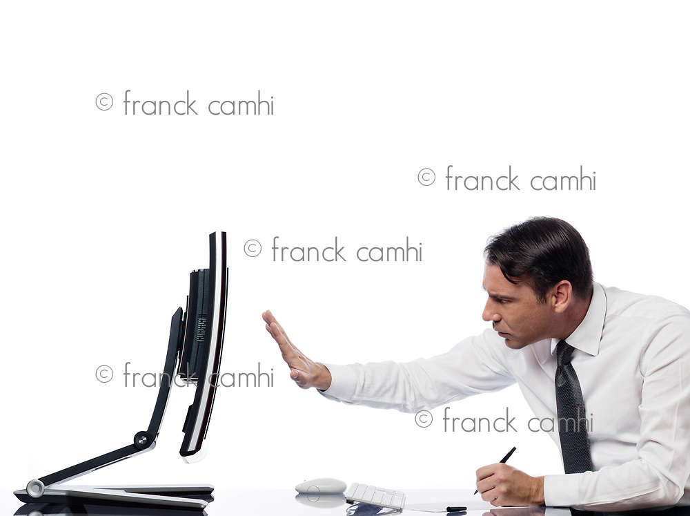 relationship between a caucasian man and a computer display monitor on isolated white background expressing intrusion rejection concept