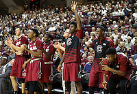 Members of the South Carolina bench react after a three point basket during the second half of an NCAA college basketball game, Saturday, Feb. 6, 2016, in College Station, Texas. South Carolina won 81-78. (AP Photo/Sam Craft)