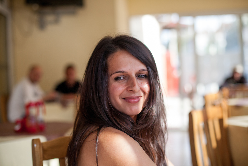 """Paralegal Romina Kajtazova after a lomg meeting with the institutions about the topic: """"Patients Rights, advance health status and better health service of the Roma"""" in a restaurant in Delcevo, Macedonia."""