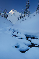 Table Mountain in winter seen from Bagley Creek, Heather Meadows Recreation Area, North Cascades Washington